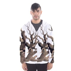 Tree Isolated Dead Plant Weathered Hooded Wind Breaker (men)