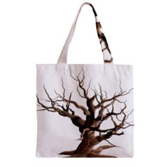 Tree Isolated Dead Plant Weathered Zipper Grocery Tote Bag