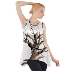 Tree Isolated Dead Plant Weathered Side Drop Tank Tunic