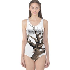 Tree Isolated Dead Plant Weathered One Piece Swimsuit