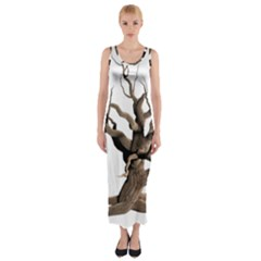 Tree Isolated Dead Plant Weathered Fitted Maxi Dress