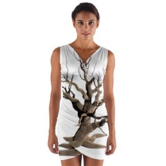 Tree Isolated Dead Plant Weathered Wrap Front Bodycon Dress