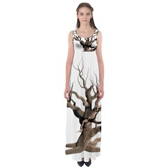 Tree Isolated Dead Plant Weathered Empire Waist Maxi Dress