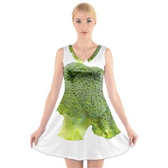 Broccoli Bunch Floret Fresh Food V Neck Sleeveless Skater Dress