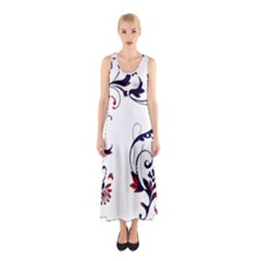 Scroll Border Swirls Abstract Sleeveless Maxi Dress