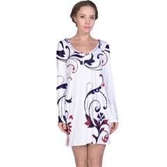 Scroll Border Swirls Abstract Long Sleeve Nightdress