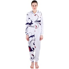 Scroll Border Swirls Abstract Hooded Jumpsuit (ladies)