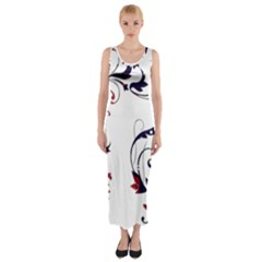 Scroll Border Swirls Abstract Fitted Maxi Dress