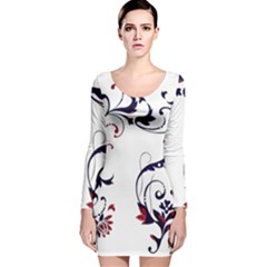 Scroll Border Swirls Abstract Long Sleeve Velvet Bodycon Dress