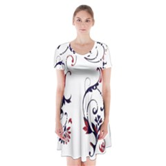 Scroll Border Swirls Abstract Short Sleeve V-neck Flare Dress