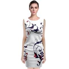 Scroll Border Swirls Abstract Classic Sleeveless Midi Dress