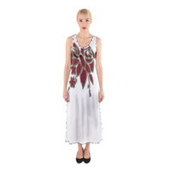 Scrapbook Element Nature Flowers Sleeveless Maxi Dress