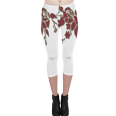 Scrapbook Element Nature Flowers Capri Leggings