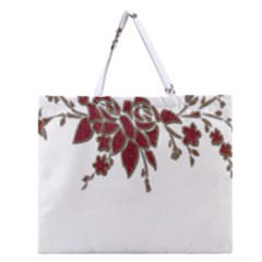 Scrapbook Element Nature Flowers Zipper Large Tote Bag