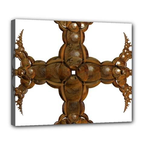 Cross Golden Cross Design 3d Deluxe Canvas 24  X 20