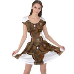 Cross Golden Cross Design 3d Cap Sleeve Dresses