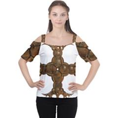 Cross Golden Cross Design 3d Women s Cutout Shoulder Tee