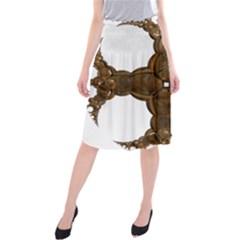 Cross Golden Cross Design 3d Midi Beach Skirt