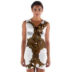 Cross Golden Cross Design 3d Wrap Front Bodycon Dress