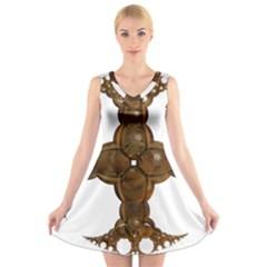 Cross Golden Cross Design 3d V-Neck Sleeveless Skater Dress