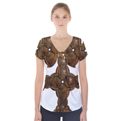 Cross Golden Cross Design 3d Short Sleeve Front Detail Top