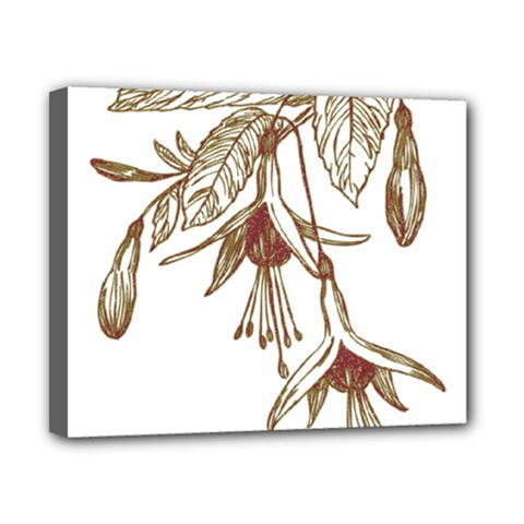Floral Spray Gold And Red Pretty Canvas 10  X 8