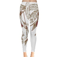 Floral Spray Gold And Red Pretty Leggings