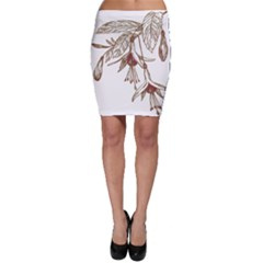 Floral Spray Gold And Red Pretty Bodycon Skirt