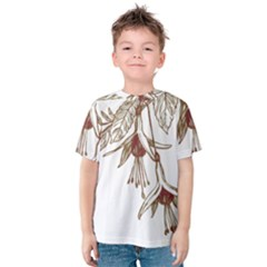 Floral Spray Gold And Red Pretty Kids  Cotton Tee