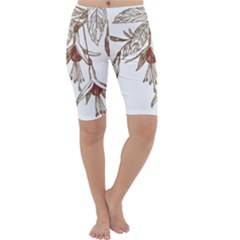 Floral Spray Gold And Red Pretty Cropped Leggings