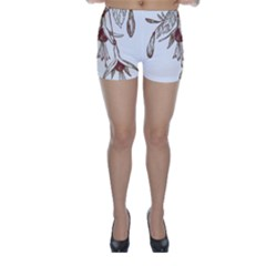 Floral Spray Gold And Red Pretty Skinny Shorts