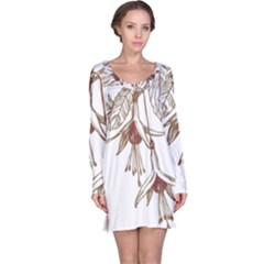 Floral Spray Gold And Red Pretty Long Sleeve Nightdress