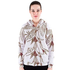 Floral Spray Gold And Red Pretty Women s Zipper Hoodie