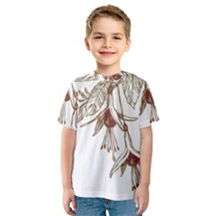 Floral Spray Gold And Red Pretty Kids  Sport Mesh Tee