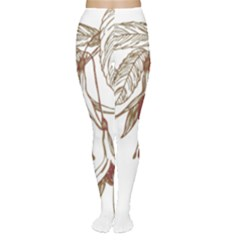 Floral Spray Gold And Red Pretty Women s Tights