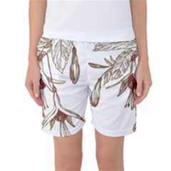 Floral Spray Gold And Red Pretty Women s Basketball Shorts