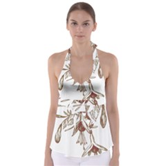 Floral Spray Gold And Red Pretty Babydoll Tankini Top