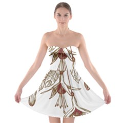 Floral Spray Gold And Red Pretty Strapless Bra Top Dress