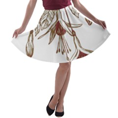 Floral Spray Gold And Red Pretty A-line Skater Skirt
