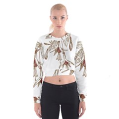Floral Spray Gold And Red Pretty Cropped Sweatshirt