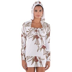 Floral Spray Gold And Red Pretty Women s Long Sleeve Hooded T Shirt