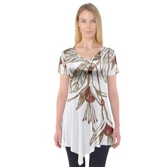 Floral Spray Gold And Red Pretty Short Sleeve Tunic