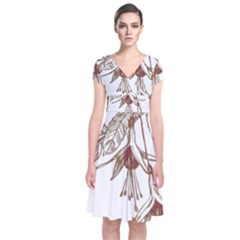 Floral Spray Gold And Red Pretty Short Sleeve Front Wrap Dress