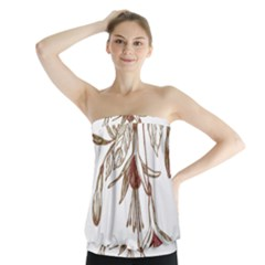 Floral Spray Gold And Red Pretty Strapless Top