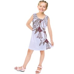 Floral Spray Gold And Red Pretty Kids  Tunic Dress