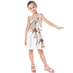 Floral Spray Gold And Red Pretty Kids  Sleeveless Dress
