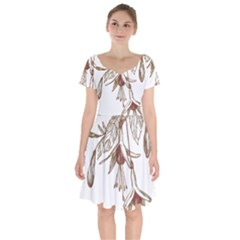 Floral Spray Gold And Red Pretty Short Sleeve Bardot Dress