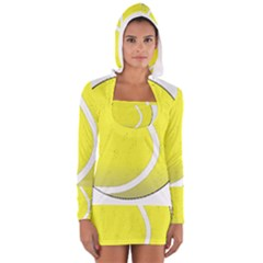 Tennis Ball Ball Sport Fitness Women s Long Sleeve Hooded T-shirt