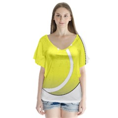 Tennis Ball Ball Sport Fitness Flutter Sleeve Top