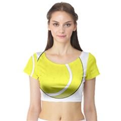 Tennis Ball Ball Sport Fitness Short Sleeve Crop Top (tight Fit)